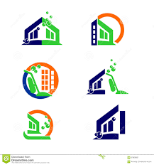 commercial home cleaning logo and apps icon design elements stock