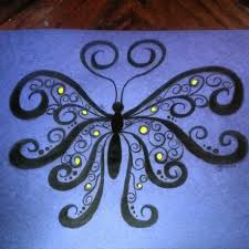 black butterfly with black and yellow dots acrylic painting by