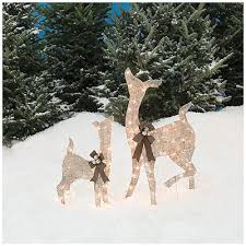 pre lit glittering chagne doe and fawn deer 2 lawn