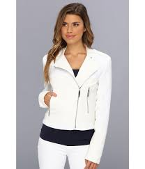 bike jackets for women vince camuto faux leather u0026 tweed moto jacket f8131 in white lyst