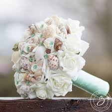 seashell bouquet mint green wedding bouquet bouquet bridal bouquet with
