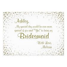 bridesmaid invitation card be my bridesmaid gold confetti card zazzle