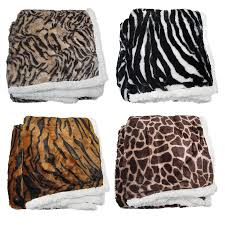 Cheetah Print Blanket Leopard Zebra Tiger Giraffe Luxurious Faux Fur Reversible Throw