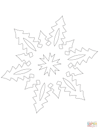 snowflake with tall christmas trees pattern coloring page free