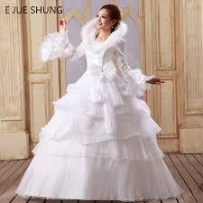 weddings dresses e jue shung white organza cheap muslim wedding dresses 2017