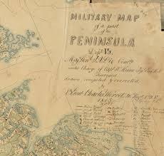 Map Of Southern Virginia a major manuscript map of the southern virginia peninsula rare
