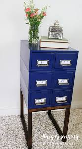 Navy Side Table Card Catalog Side Table Risenmay