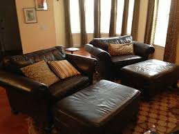 leather chair and a half with ottoman bernhardt leather 2 chairs and a half with ottomans good condition