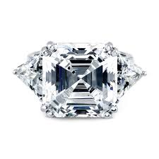 zirconia stone rings images Sterling silver asscher cubic zirconia cz 3 stone engagement ring jpg