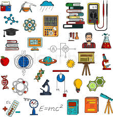 science research and education sketch symbols with books computer