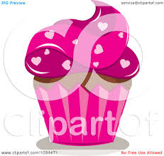 clipart valentine cupcake with pink frosting and heart sprinkles