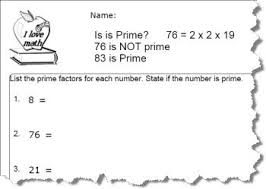 practice factoring prime numbers worksheets