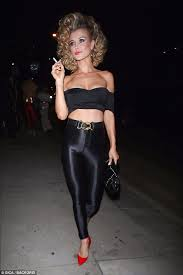joanna krupa channels sandy from grease for halloween bash daily