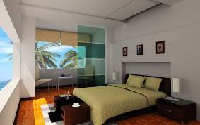 cool beach bedroom in modern style with green bedding and glass