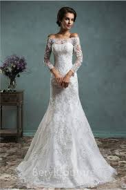 Lace Wedding Dress Unique Mermaid Vintage Lace Long Sleeve Wedding Dress With