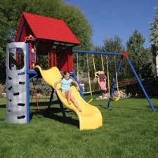 Metal Backyard Playsets Heavy Duty Metal Playset With Clubhouse Primary Colors