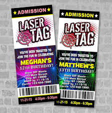 printed laser tag birthday party ticket invitation boy or