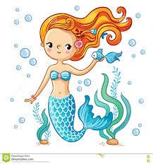 cute swimming cartoon mermaid stock illustration image 72024118