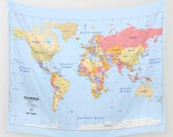 world map tapestry etsy