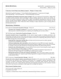 construction operation manager resume executive project manager