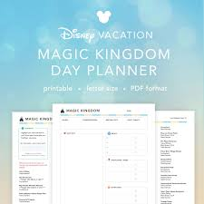 printable disney planning guide disney vacation magic kingdom planner daily planning sheet