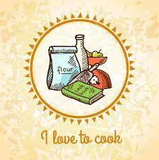 j aime cuisiner j aime cuisiner affiche de croquis avec des ustensiles de cuisine et