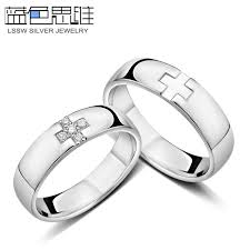 cross rings images Blue sweet couple rings personalized cross rings for women and jpg