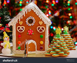 gingerbread house gingerbread christmas tree snowman stock photo