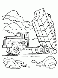 dump truck load of rocks coloring page for kids transportation