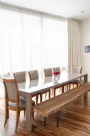 light filtering curtains dining room contemporary with bench