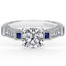 bezel set engagement ring kirk kara blue sapphire and diamond bezel set