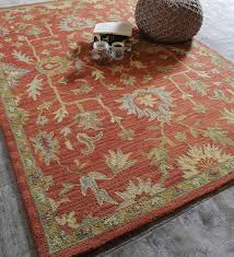 Wool Indian Rugs Buy Rust Wool Indian Ethnic Carpet By The Rug Republic Online