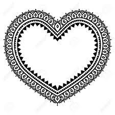 Musterk Hen Herz Mehndi Design Indischen Henna Tattoo Muster Lizenzfrei