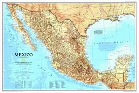 Mexico Wall Map United States Of America Map Us Political Map Earthtoned Poster