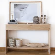 consolas muebles consola de roble anudado 2 cajones lure kenay home