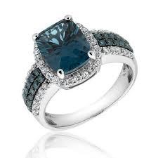 blue topaz engagement rings london blue topaz blue diamond and diamond ring 3 4ctw item