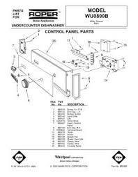 Roper Dishwasher Parts Wu0800b Whirlpool Roper Undercounter Dishwasher Parts And Diagrams