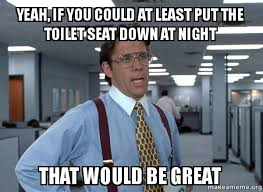Toilet Seat Down Meme - yeah if you could at least put the toilet seat down at night that