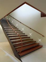 wooden staircase idea with wood and metal stair raiing plus star