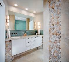 sliced pebble tile bathroom transitional with marble mosaic