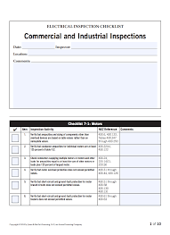 Home Inspection Checklist by Electrical Inspection Checklists Checking Verifying And