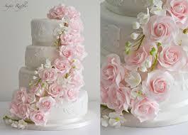 wedding cake roses food favor and freesia cascade wedding cake 2485163
