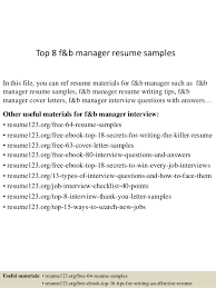 Event Coordinator Resume 9 Download Documents In Pdf Sample by Top 8 F U0026b Manager Resume Samples