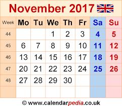 november 2017 calendar with holidays uk monthly calendar 2017