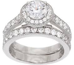 set ring diamonique two halo ring set platinum clad page 1 qvc