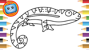 how to draw a chameleon colouring book simple drawing game