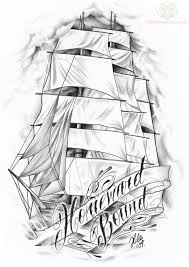 black and grey ship with banner tattoo design by hilary jane