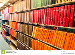 books on bookshelves in a library royalty free stock photography