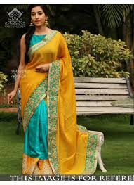 Color Image Online by Shop Rozdeal New Yellow And Firozi Color Paper Silk Saree 545561
