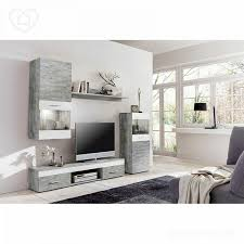 Wohnzimmer Vitrine Wohnwand Beton Weiß Anbauwand Wohnzimmer Fernsehschrank Vitrine Tv